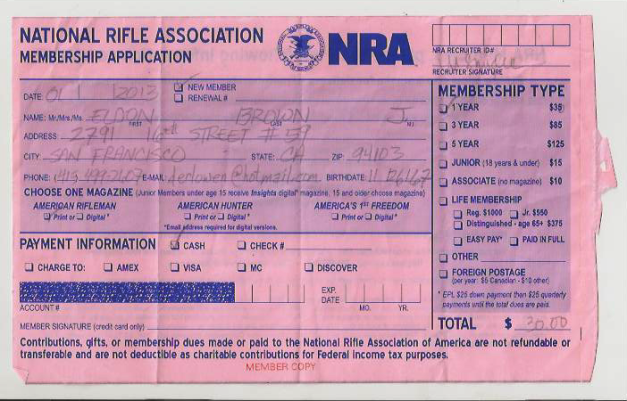 NRA membership reciept