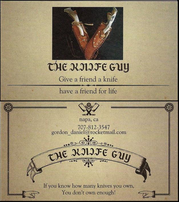 The Knife Guy at gun show biz card