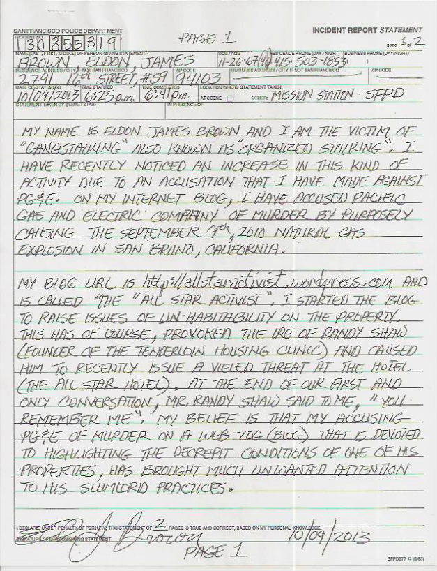 Eldon's Gangstalking incident report #130855319 p.1