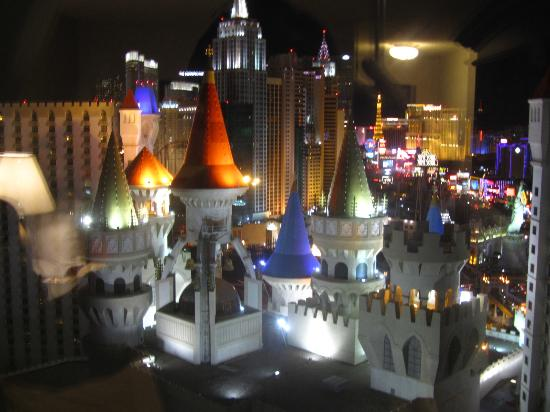 The Excalibur from a room at night. This is what it looked like. Las Vegas architecture is so weird. I hate Las Vegas but she loved it.