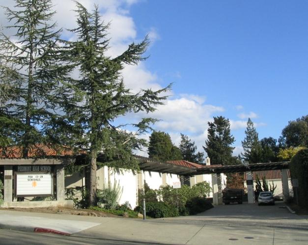 Entrance to Piedmont High School on Magnolia Street.