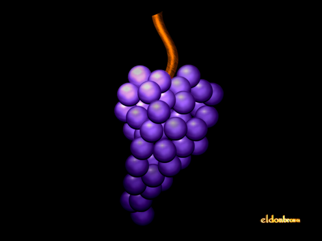 Adobe Photoshop 5.5 and Swift 3D. Believe it or not, the hardest part of this one was getting the lighting just right. The grapes were easy, just make one and duplicate it 30 times.