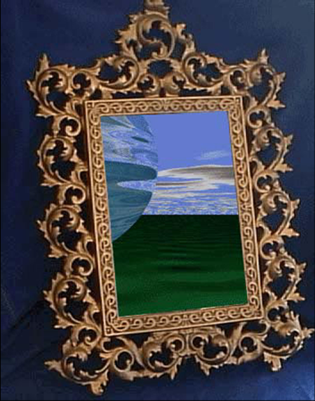 This was an animated .gif and the planet floated by in the mirror. This was the very first animated .gif that I ever made and I did it in Web Development school, it kind of made me a minor celebrity on campus. Adobe Illustrator and Photoshop 5.5.