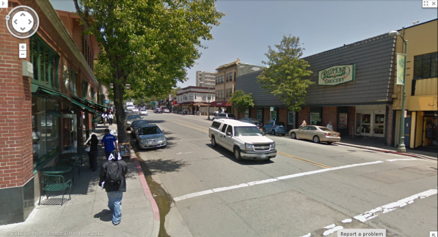 Midway up Piedmont Avenue in Oakland.