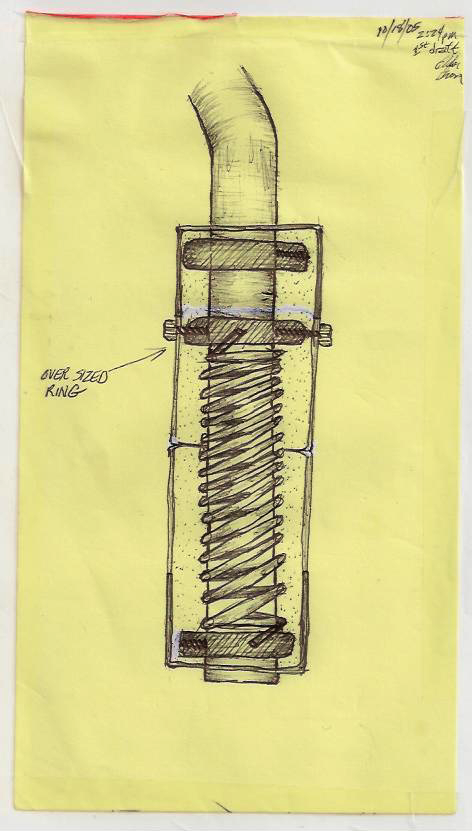 Black ball point pen. A semi-technical drawing for a truck mirror base I was going to make.
