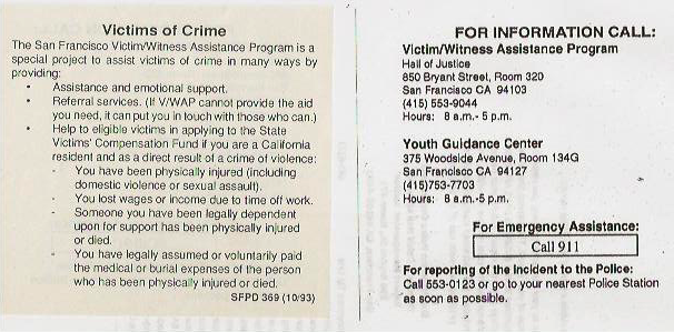 Victims of Crime pamphlet