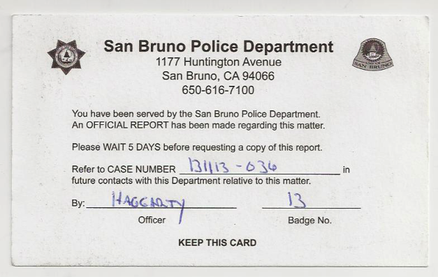 Complaint that I filed with the San Bruno Police Department against PG&E for murder.