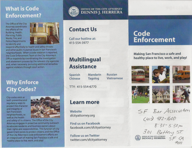 Dennis Herrera Code Enforcement brochure p1