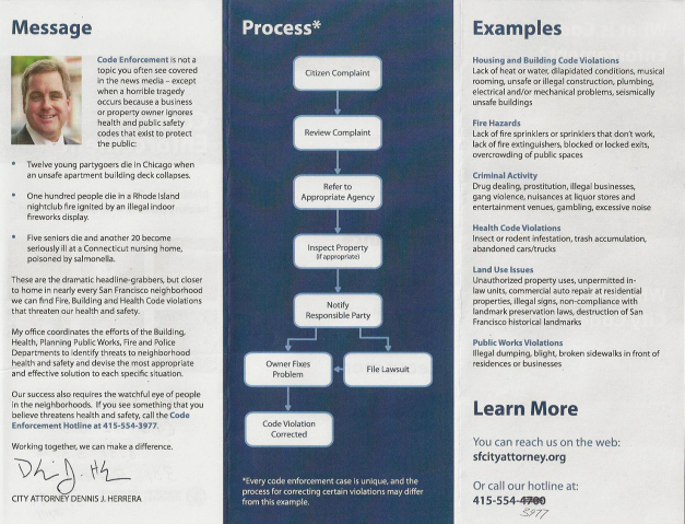 Dennis Herrera Code Enforcement brochure p2