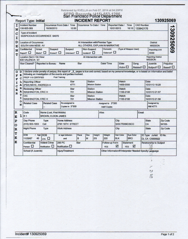 SFPD Incident Report #130925069 page 1 (THC knife carry harassment)
