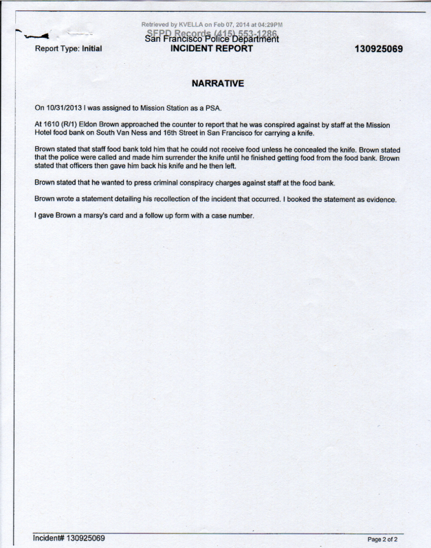 SFPD Incident Report #130925069 page 2 (THC knife carry harassment)