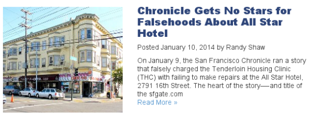 "This is a ""hit piece"" that Randy Shaw wrote after Kale Williams of SFGate did a story on the All Star Hotel. Randy Shaw mentions me in it and libels himself. Of course, they expect I'll be set up and in prison long before I get a chance to explore my legal options."
