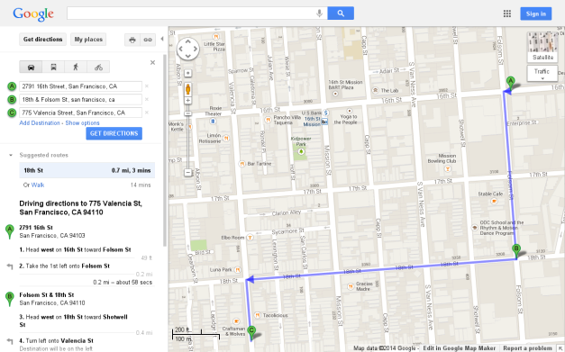 This is the complete route that the Gangstalking couple walked.