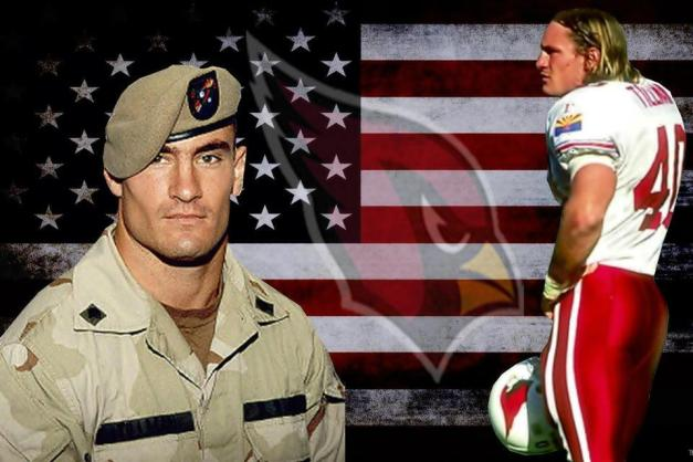 "Pat Tillman, former Safety for the NFL Arizona Cardinals and highly decorated U.S. Army Ranger. Murdered by ""friendly fire"" for criticizing the war and our leaders."
