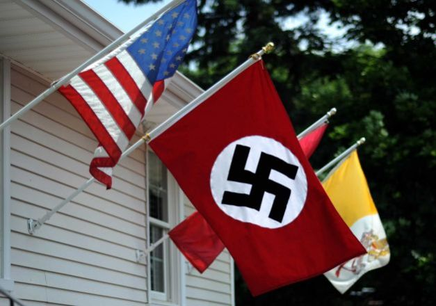 Stratford man displays Nazi flag in protest