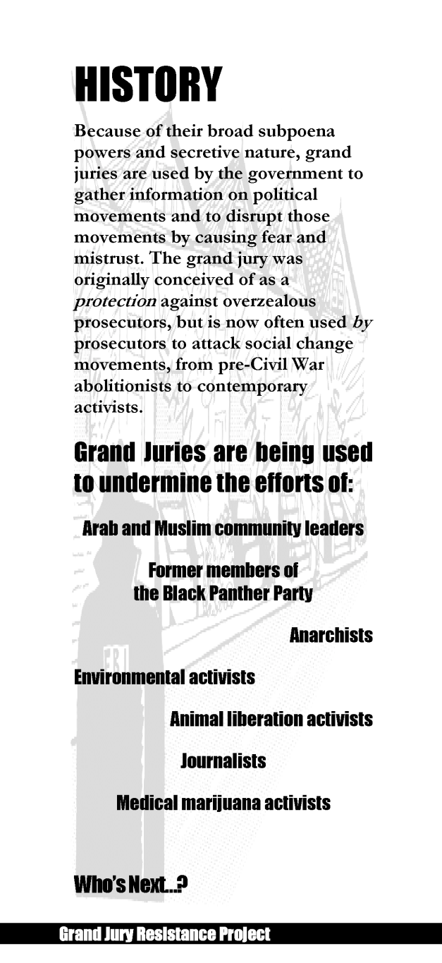 Grand Jury Resistance Project brochure page 3