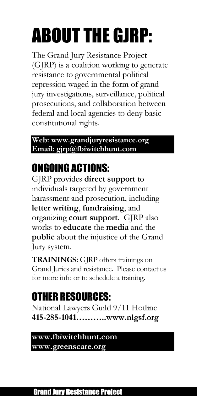 Grand Jury Resistance Project brochure page 6