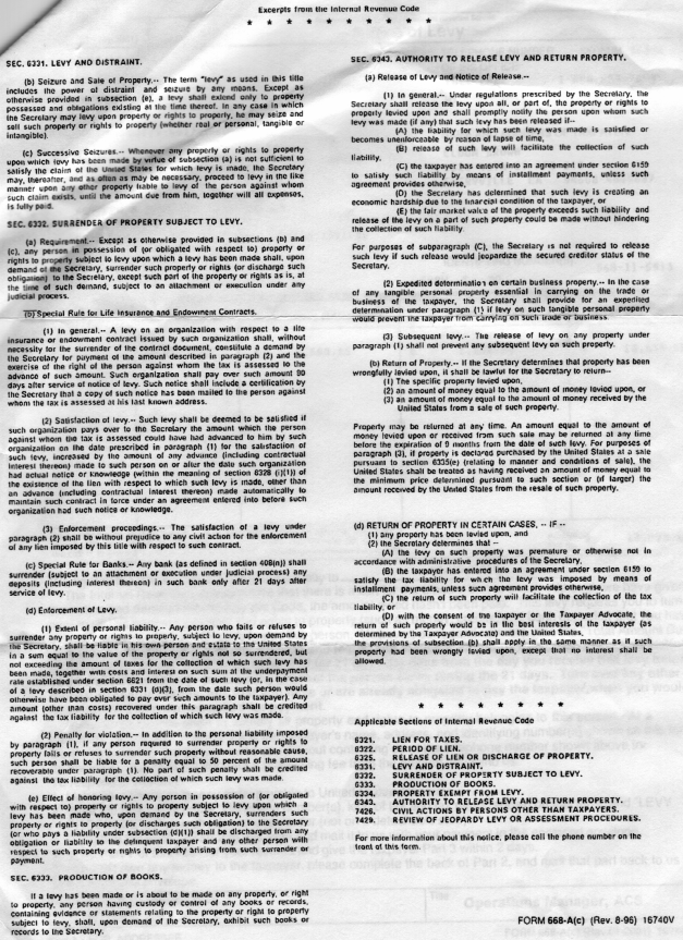 IRS Notice Of Levy p2