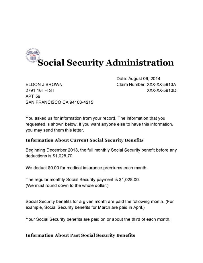 Social Security Benefits Verification letter 001 All Star Activist vJRLWVlq