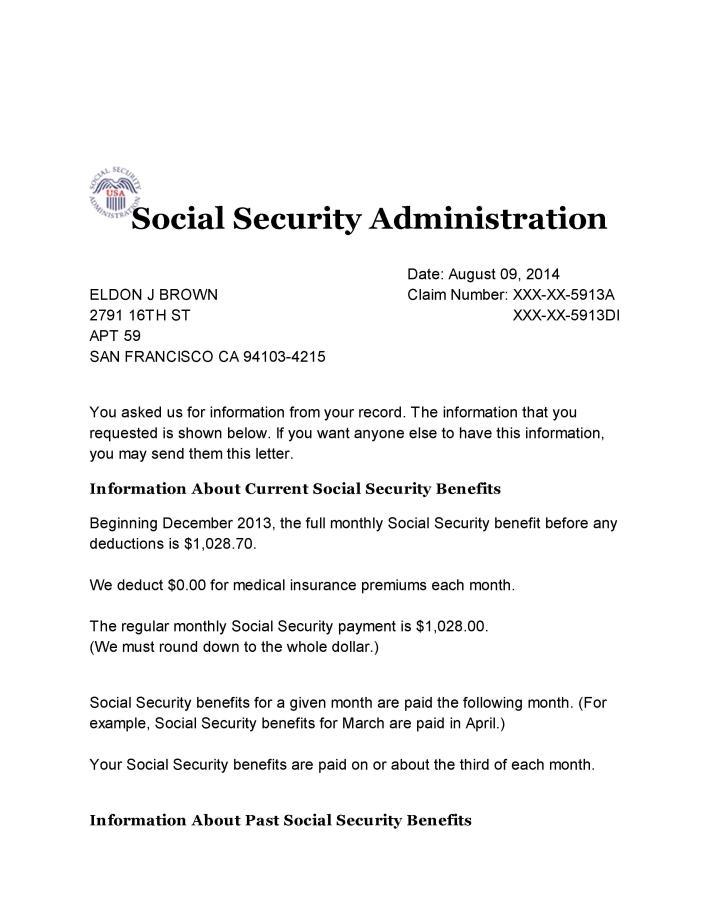 Social Security Benefits Verification letter 001 | All Star Activist