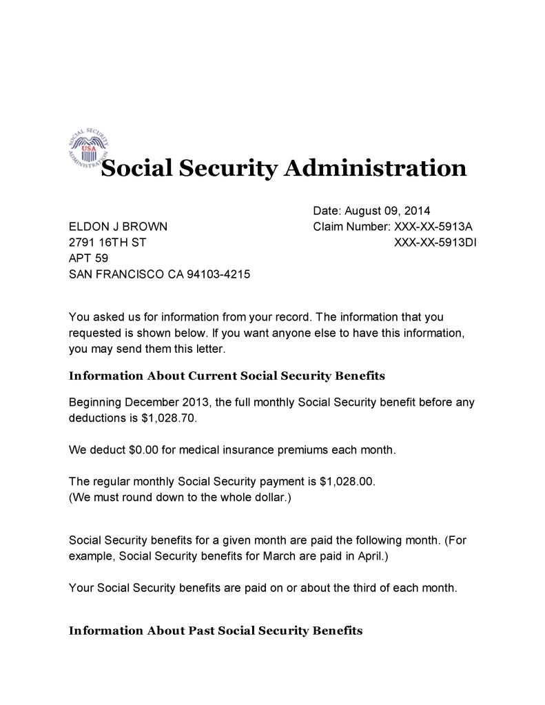 Social Security Letter Of Benefits.Social Security Benefits Verification Letter 001 All Star