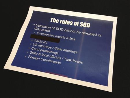 A slide from a presentation about a secretive information-sharing program run by the U.S. Drug Enforcement Administration's Special Operations Division (SOD) is seen in this undated photo.