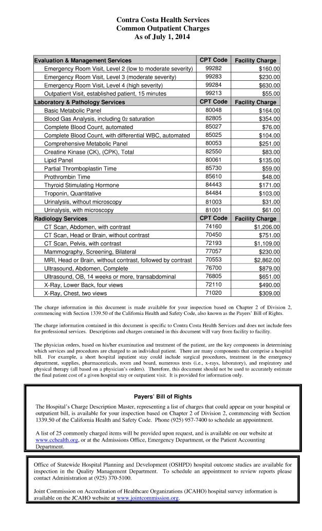 This is a partial list of common charges (prices) for medical services rendered. An Emergency Room visit starts at $160. How can my bill for the ER go from $382.84 to $37?? FRAUD AND A COVER UP CONSPIRACY, THATS HOW.