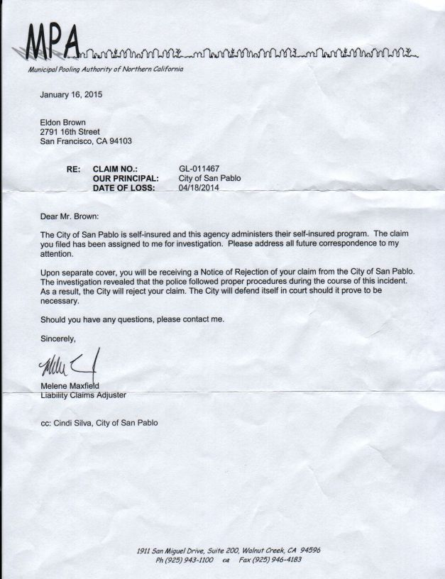 Rejection letter for my claim against the City of San Pablo for violating my Civil Liberties, dated January 16th, 2015.