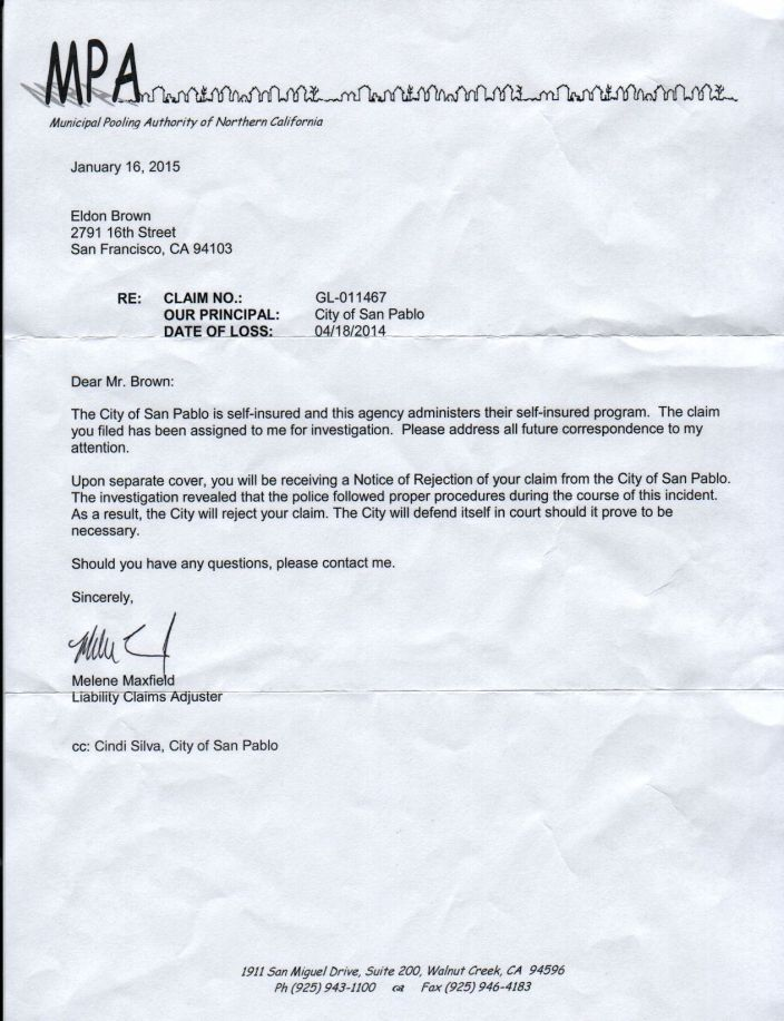 denial of claim letter 01 16 15