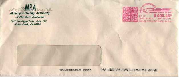 Postmarked envelope for rejection of claim letter, dated January 16th, 2015