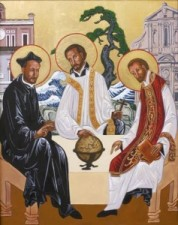 An icon depicting St. Ignatius Loyola, St. Francis Xavier, and Bl. Peter Favre, founders of the Society of Jesus (Jesuits)