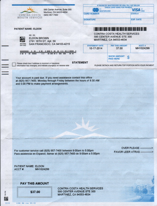 This bill somehow miraculously shed three-hundred forty-five dollars and eighty four cents immediatly after submitting my claim against the City Of San Pablo for violating my civil rights. You can see the original amount before fraudulently tampering above yet, the billing department maintains that it was always only thirty-seven dollars!