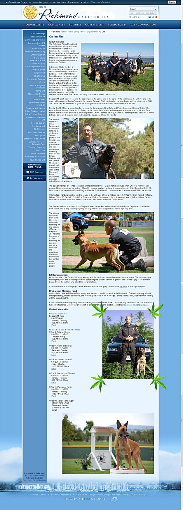 Richmond Police k9 Unit in weed