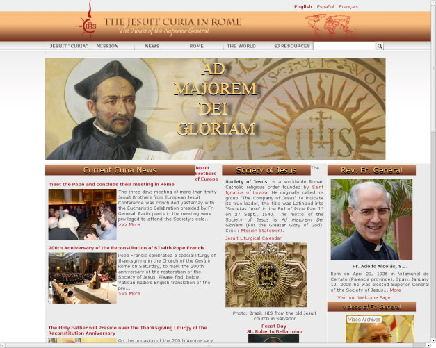 Society of Jesus front page