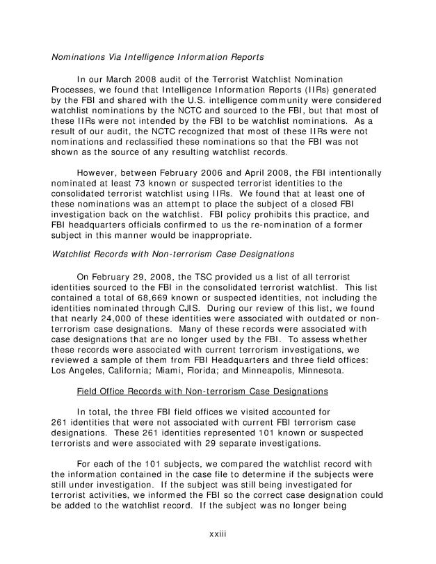 The Federal Bureau of Investigation's Terrorist Watchlist Nomination Practices, Audit Report 09-25, May 2009-024