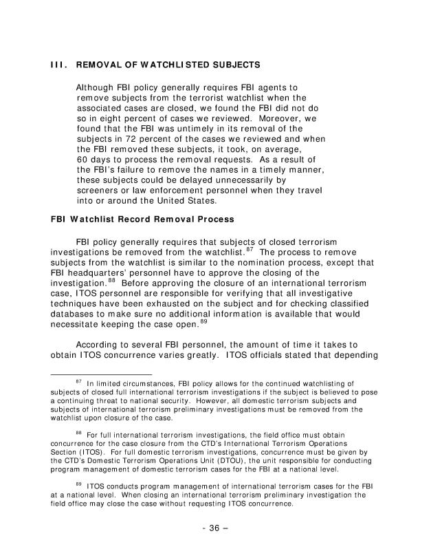 The Federal Bureau of Investigation's Terrorist Watchlist Nomination Practices, Audit Report 09-25, May 2009-065