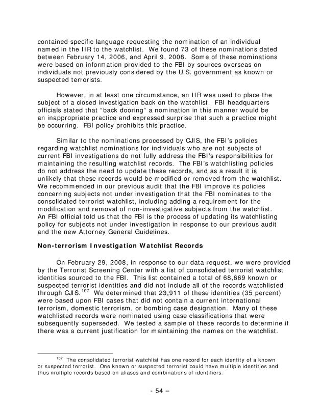 The Federal Bureau of Investigation's Terrorist Watchlist Nomination Practices, Audit Report 09-25, May 2009-083