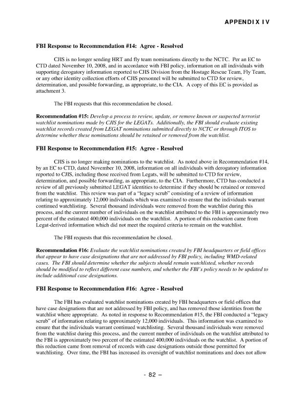 The Federal Bureau of Investigation's Terrorist Watchlist Nomination Practices, Audit Report 09-25, May 2009-111