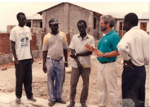 Br. Mike Wilmot, SJ, working on housing project in Africa