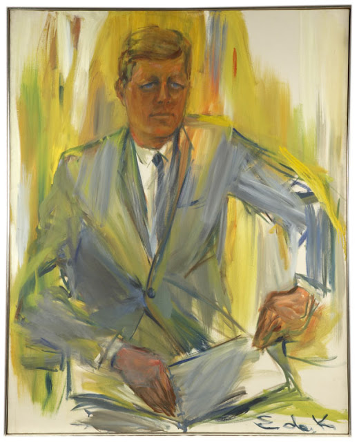 Page: John F. Kennedy Artist: Elaine de Kooning Completion Date: 1962 Style: Abstract Expressionism, Expressionism Genre: portrait