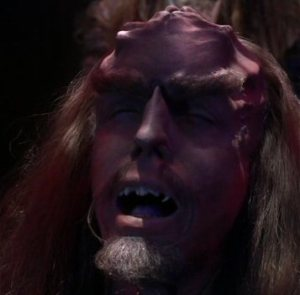A Klingon prisoner infected with the Augment virus.