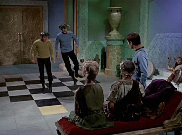 "In Plato's Stepchildren, Philospher King tyrant ""Parmen"" torments Kirk and Spock by making them dance."