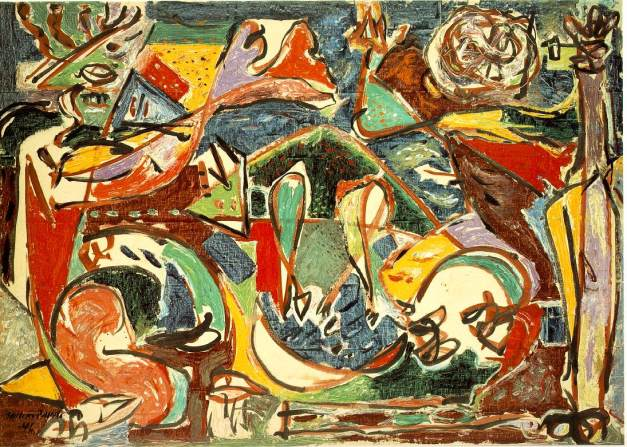 Title: The key Artist: Jackson Pollock Completion Date: 1946 Style: Abstract Expressionism Genre: abstract painting Gallery: Art Institute of Chicago, Chicago, IL, USA