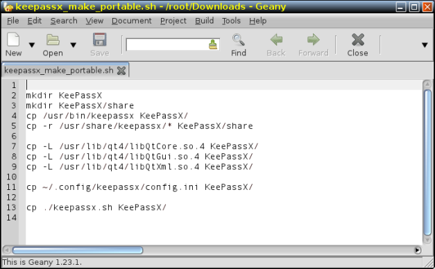 'keepassx_make_portable.sh' script in editor before being given the correct paths to Qt libraries.