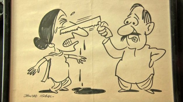 Cartoon depicting an actual crime against a Pakistani wife.