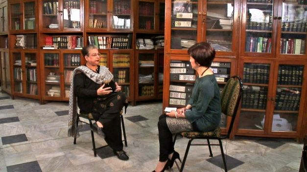Hina Jilani being interviewed