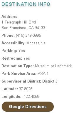 Coit Tower Parks & Rec dest info