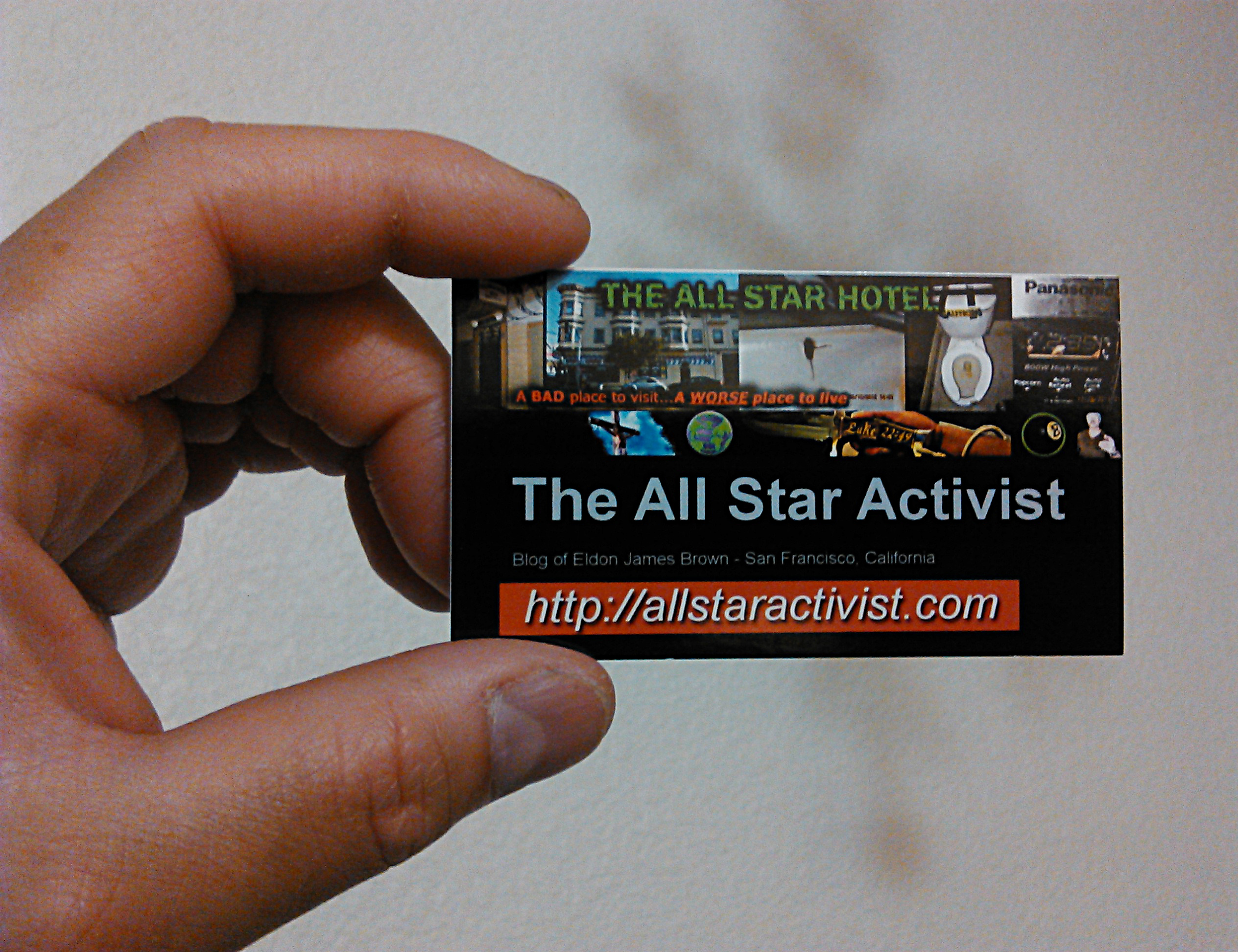 Handing out business cards to publicize my blog, The All Star ...