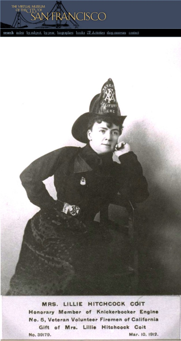 Lillie_Hitchcock_Coit as Firefighter and logo