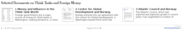 Selected Documents on Think Tanks and Foreign Money
